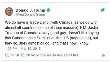 Twitter post by @realDonaldTrump: We do have a Trade Deficit with Canada, as we do with almost all countries (some of them massive). P.M. Justin Trudeau of Canada, a very good guy, doesn't like saying that Canada has a Surplus vs. the U.S.(negotiating), but they do...they almost all do...and that's how I know!