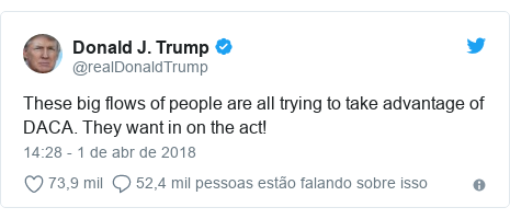 Twitter post de @realDonaldTrump: These big flows of people are all trying to take advantage of DACA. They want in on the act!