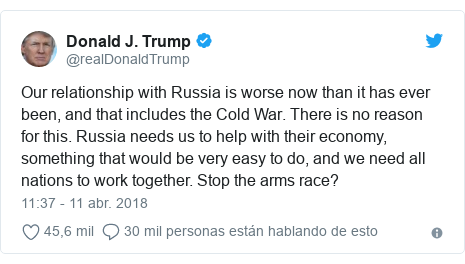 Publicación de Twitter por @realDonaldTrump: Our relationship with Russia is worse now than it has ever been, and that includes the Cold War. There is no reason for this. Russia needs us to help with their economy, something that would be very easy to do, and we need all nations to work together. Stop the arms race?