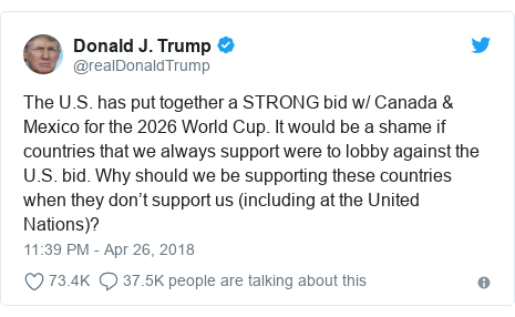 Twitter waxaa daabacay @realDonaldTrump: The U.S. has put together a STRONG bid w/ Canada & Mexico for the 2026 World Cup. It would be a shame if countries that we always support were to lobby against the U.S. bid. Why should we be supporting these countries when they don't support us (including at the United Nations)?
