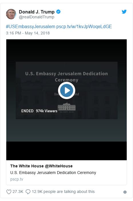 Twitter post by @realDonaldTrump: #USEmbassyJerusalem