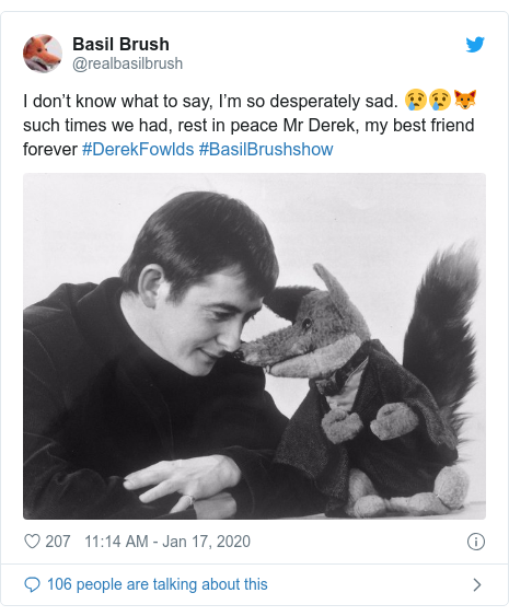 Twitter post by @realbasilbrush: I don't know what to say, I'm so desperately sad. 😢😢🦊such times we had, rest in peace Mr Derek, my best friend forever #DerekFowlds #BasilBrushshow