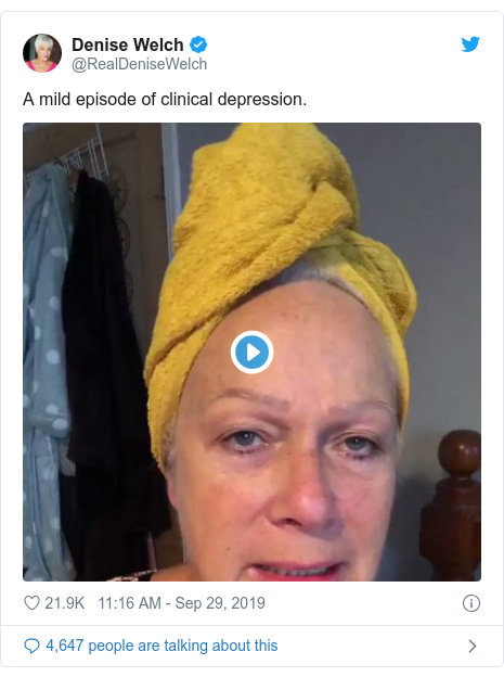 Twitter post by @RealDeniseWelch: A mild episode of clinical depression.
