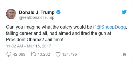 Twitter post by @realDonaldTrump: Can you imagine what the outcry would be if @SnoopDogg, failing career and all, had aimed and fired the gun at President Obama? Jail time!