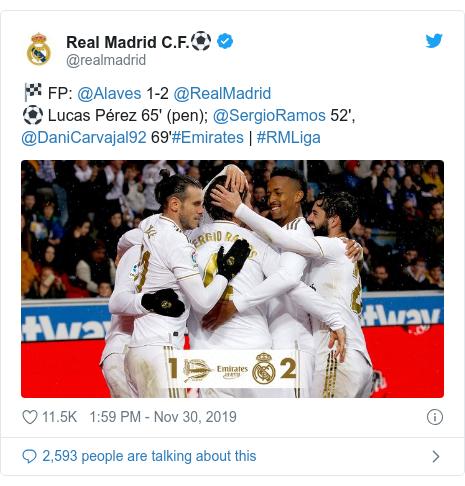 Twitter post by @realmadrid: 🏁 FP  @Alaves 1-2 @RealMadrid ⚽ Lucas Pérez 65' (pen); @SergioRamos 52', @DaniCarvajal92 69'#Emirates   #RMLiga