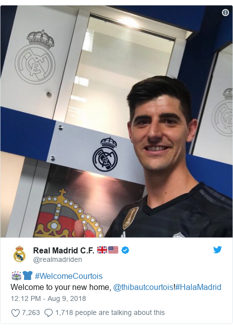 Twitter post by @realmadriden: 🏟👕 #WelcomeCourtoisWelcome to your new home, @thibautcourtois!#HalaMadrid
