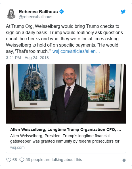 """Twitter post by @rebeccaballhaus: At Trump Org, Weisselberg would bring Trump checks to sign on a daily basis. Trump would routinely ask questions about the checks and what they were for, at times asking Weisselberg to hold off on specific payments. """"He would say, 'That's too much.'"""""""