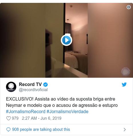 Twitter post by @recordtvoficial: EXCLUSIVO! Assista ao vídeo da suposta briga entre Neymar e modelo que o acusou de agressão e estupro #JornalismoRecord #JornalismoVerdade
