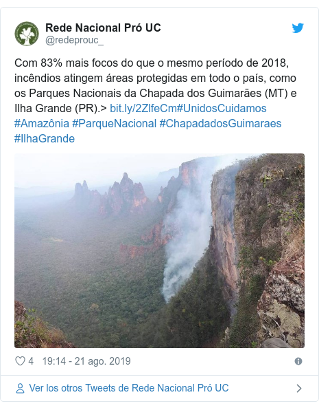 Publicación de Twitter por @redeprouc_: Com 83% mais focos do que o mesmo período de 2018, incêndios atingem áreas protegidas em todo o país, como os Parques Nacionais da Chapada dos Guimarães (MT) e Ilha Grande (PR).> #UnidosCuidamos #Amazônia #ParqueNacional #ChapadadosGuimaraes #IlhaGrande
