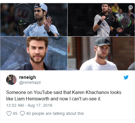 Twitter post by @renehayd: Someone on YouTube said that Karen Khachanov looks like Liam Hemsworth and now I can't un-see it.