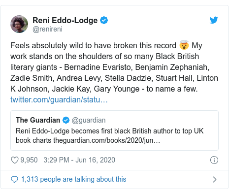 Twitter post by @renireni: Feels absolutely wild to have broken this record 🤯 My work stands on the shoulders of so many Black British literary giants - Bernadine Evaristo, Benjamin Zephaniah, Zadie Smith, Andrea Levy, Stella Dadzie, Stuart Hall, Linton K Johnson, Jackie Kay, Gary Younge - to name a few.