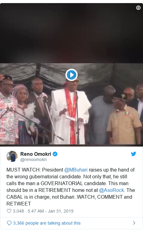 Twitter post by @renoomokri: MUST WATCH  President @MBuhari raises up the hand of the wrong gubernatorial candidate. Not only that, he still calls the man a GOVERNATORIAL candidate. This man should be in a RETIREMENT home not at @AsoRock. The CABAL is in charge, not Buhari. WATCH, COMMENT and RETWEET
