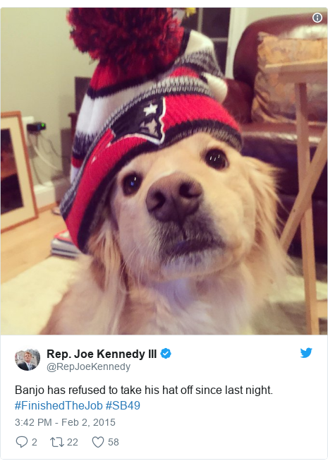 Twitter post by @RepJoeKennedy: Banjo has refused to take his hat off since last night. #FinishedTheJob #SB49