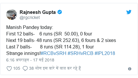 ट्विटर पोस्ट @rgcricket: Manish Pandey today First 12 balls-    6 runs (SR  50.00), 0 fourNext 19 balls- 48 runs (SR 252.63), 6 fours & 2 sixesLast 7 balls-       8 runs (SR 114.28), 1 fourStrange innings!#RCBvSRH #SRHvRCB #IPL2018