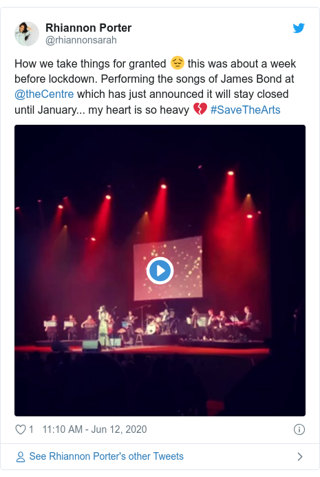 Twitter post by @rhiannonsarah: How we take things for granted 😔 this was about a week before lockdown. Performing the songs of James Bond at @theCentre which has just announced it will stay closed until January... my heart is so heavy 💔 #SaveTheArts