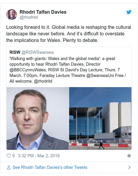 Neges Twitter gan @rhodritd: Looking forward to it. Global media is reshaping the cultural landscape like never before. And it's difficult to overstate the implications for Wales. Plenty to debate.
