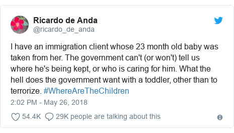 Twitter post by @ricardo_de_anda: I have an immigration client whose 23 month old baby was taken from her. The government can't (or won't) tell us where he's being kept, or who is caring for him. What the hell does the government want with a toddler, other than to terrorize. #WhereAreTheChildren