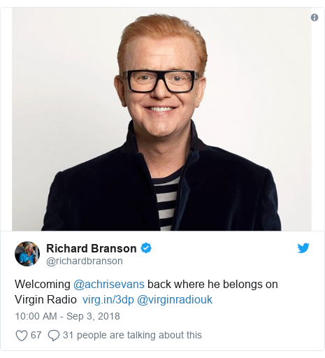 Twitter post by @richardbranson: Welcoming @achrisevans back where he belongs on  Virgin Radio   @virginradiouk
