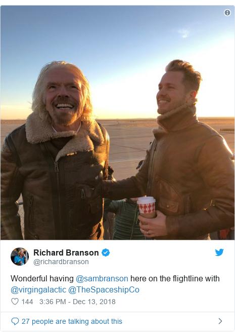 Twitter post by @richardbranson: Wonderful having @sambranson here on the flightline with @virgingalactic @TheSpaceshipCo