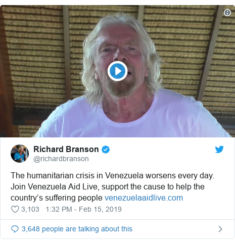 Twitter post by @richardbranson: The humanitarian crisis in Venezuela worsens every day. Join Venezuela Aid Live, support the cause to help the country's suffering people