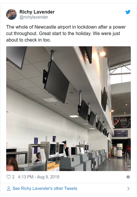 Twitter post by @richylavender: The whole of Newcastle airport in lockdown after a power cut throughout. Great start to the holiday. We were just about to check in too.