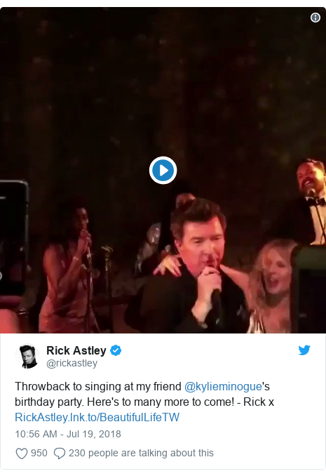Twitter post by @rickastley: Throwback to singing at my friend @kylieminogue's birthday party. Here's to many more to come! - Rick x