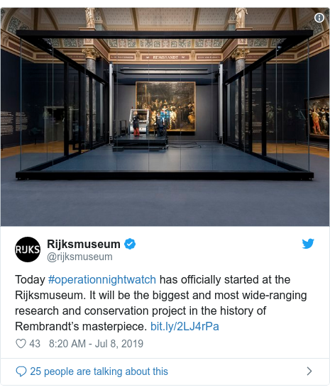 Twitter post by @rijksmuseum: Today #operationnightwatch has officially started at the Rijksmuseum. It will be the biggest and most wide-ranging research and conservation project in the history of Rembrandt's masterpiece.