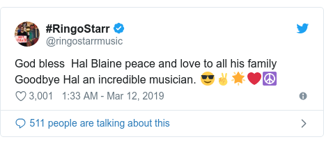 Twitter post by @ringostarrmusic: God bless  Hal Blaine peace and love to all his family Goodbye Hal an incredible musician. 😎✌️🌟❤️☮️
