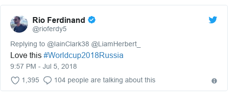 Twitter post by @rioferdy5: Love this #Worldcup2018Russia