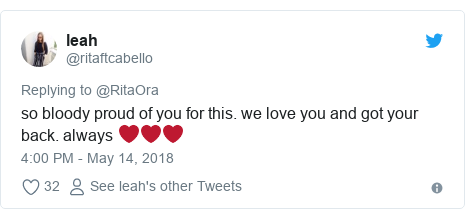 Twitter post by @ritaftcabello: so bloody proud of you for this. we love you and got your back. always ❤️❤️❤️