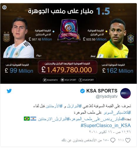تويتر رسالة بعث بها @riyadiyatv: تعرف على القيمة السوقية للاعبي #البرازيل و #الأرجنتين قبل لقاء #كلاسيكو_السوبر على ملعب الجوهرة بجدة#مليار_ونص_على_ملعب_الجوهره#البرازيل_الارجنتين 🇦🇷🇧🇷#SuperClasico_in_KSA