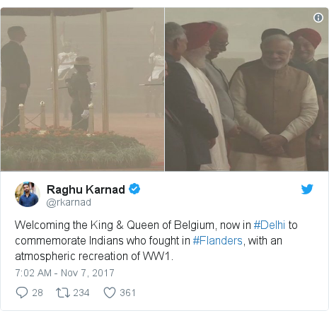 Twitter post by @rkarnad: Welcoming the King & Queen of Belgium, now in #Delhi to commemorate Indians who fought in #Flanders, with an atmospheric recreation of WW1.