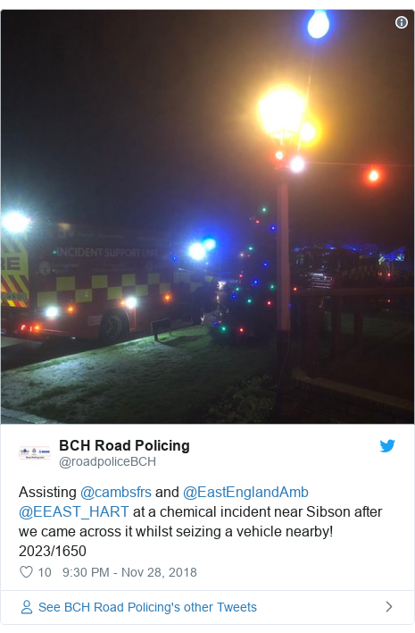 Twitter post by @roadpoliceBCH: Assisting @cambsfrs and @EastEnglandAmb @EEAST_HART at a chemical incident near Sibson after we came across it whilst seizing a vehicle nearby! 2023/1650
