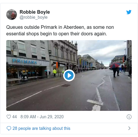 Twitter post by @robbie_boyle: Queues outside Primark in Aberdeen, as some non essential shops begin to open their doors again.