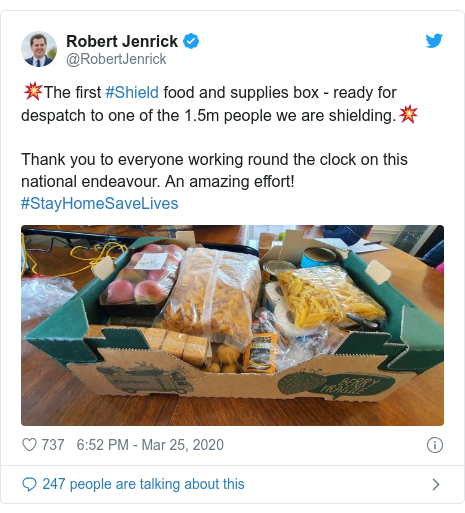 Twitter post by @RobertJenrick: 💥The first #Shield food and supplies box - ready for despatch to one of the 1.5m people we are shielding.💥Thank you to everyone working round the clock on this national endeavour. An amazing effort! #StayHomeSaveLives