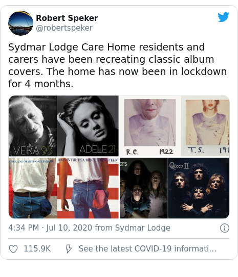 Twitter post by @robertspeker: Sydmar Lodge Care Home residents and carers have been recreating classic album covers. The home has now been in lockdown for 4 months.