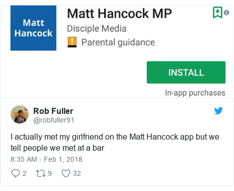 Twitter post by @robfuller91: I actually met my girlfriend on the Matt Hancock app but we tell people we met at a bar