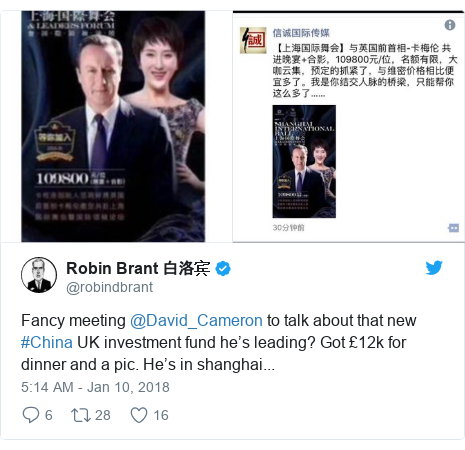 Twitter post by @robindbrant: Fancy meeting @David_Cameron to talk about that new #China UK investment fund he's leading? Got £12k for dinner and a pic. He's in shanghai...