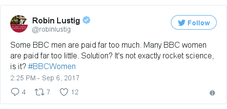 Twitter post by @robinlustig: Some BBC men are paid far too much. Many BBC women are paid far too little. Solution? It's not exactly rocket science, is it? #BBCWomen