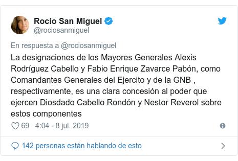Publicación de Twitter por @rociosanmiguel: La designaciones de los Mayores Generales Alexis Rodríguez Cabello y Fabio Enrique Zavarce Pabón, como Comandantes Generales del Ejercito y de la GNB , respectivamente, es una clara concesión al poder que ejercen Diosdado Cabello Rondón y Nestor Reverol sobre estos componentes