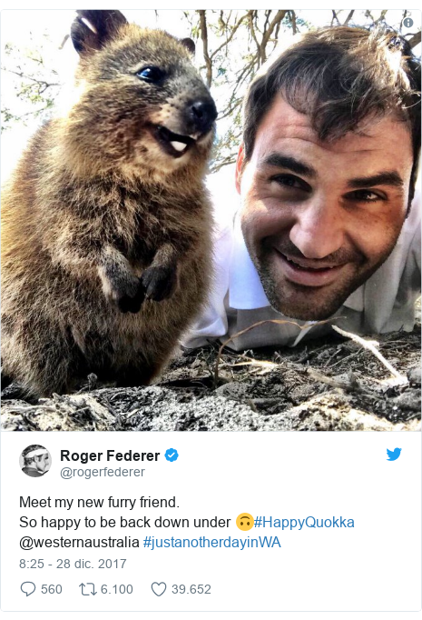 Publicación de Twitter por @rogerfederer: Meet my new furry friend. So happy to be back down under 🙃#HappyQuokka @westernaustralia #justanotherdayinWA