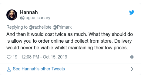 Twitter post by @rogue_canary: And then it would cost twice as much. What they should do is allow you to order online and collect from store. Delivery would never be viable whilst maintaining their low prices.