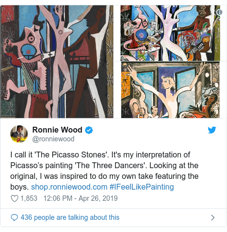 Twitter post by @ronniewood: I call it 'The Picasso Stones'. It's my interpretation of Picasso's painting 'The Three Dancers'. Looking at the original, I was inspired to do my own take featuring the boys.  #IFeelLikePainting