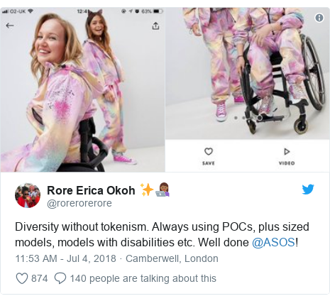 Twitter post by @rorerorerore: Diversity without tokenism. Always using POCs, plus sized models, models with disabilities etc. Well done @ASOS!