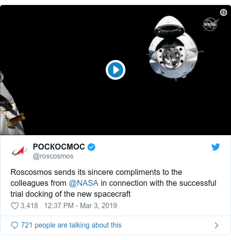 Twitter post by @roscosmos: Roscosmos sends its sincere compliments to the colleagues from @NASA in connection with the successful trial docking of the new spacecraft