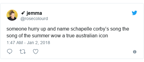 Twitter post by @rosecolourd: someone hurry up and name schapelle corby's song the song of the summer wow a true australian icon