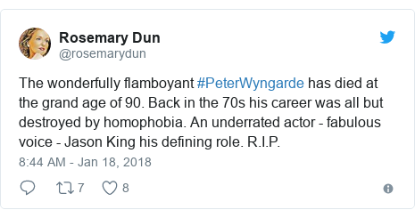 Twitter post by @rosemarydun: The wonderfully flamboyant #PeterWyngarde has died at the grand age of 90. Back in the 70s his career was all but destroyed by homophobia. An underrated actor - fabulous voice - Jason King his defining role. R.I.P.
