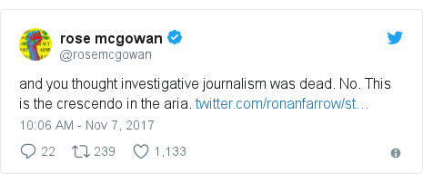 Twitter post by @rosemcgowan: and you thought investigative journalism was dead. No. This is the crescendo in the aria.