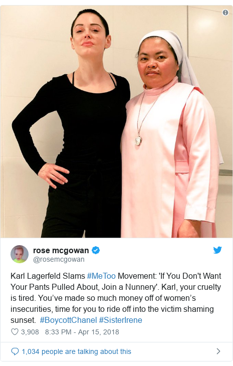 Twitter post by @rosemcgowan: Karl Lagerfeld Slams #MeToo Movement  'If You Don't Want Your Pants Pulled About, Join a Nunnery'. Karl, your cruelty is tired. You've made so much money off of women's insecurities, time for you to ride off into the victim shaming sunset.  #BoycottChanel #SisterIrene
