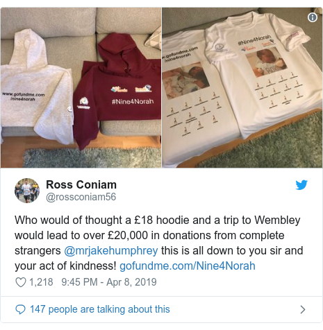 Twitter post by @rossconiam56: Who would of thought a £18 hoodie and a trip to Wembley would lead to over £20,000 in donations from complete strangers @mrjakehumphrey this is all down to you sir and your act of kindness!